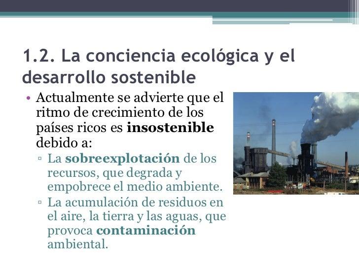 1.2. La conciencia ecológica y eldesarrollo sostenible• La conciencia ecológica y la  práctica del desarrollo sostenible  ...