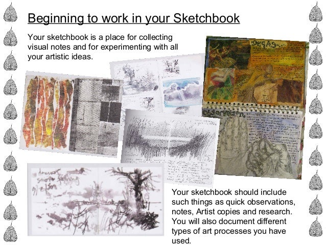 Beginning to work in your Sketchbook Your sketchbook is a place for collecting visual notes and for experimenting with all...