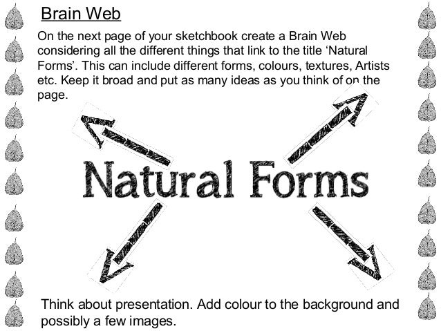Brain Web On the next page of your sketchbook create a Brain Web considering all the different things that link to the tit...