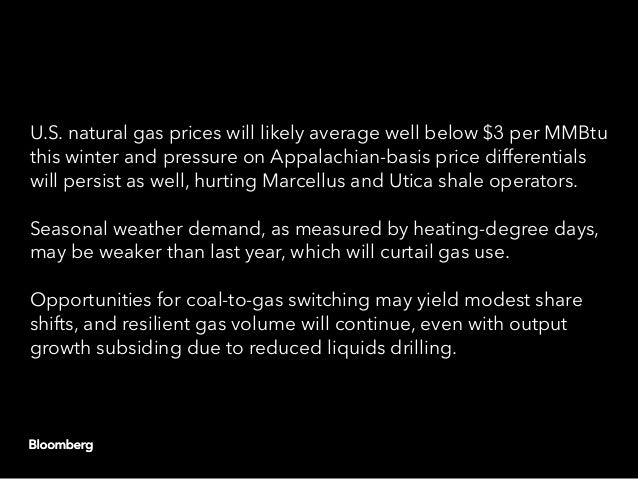 U.S. natural gas prices will likely average well below $3 per MMBtu this winter and pressure on Appalachian-basis price di...