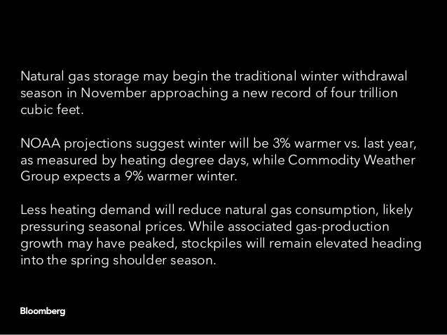 Natural gas storage may begin the traditional winter withdrawal season in November approaching a new record of four trilli...
