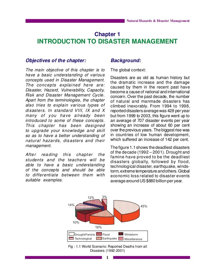 write a note on disaster management