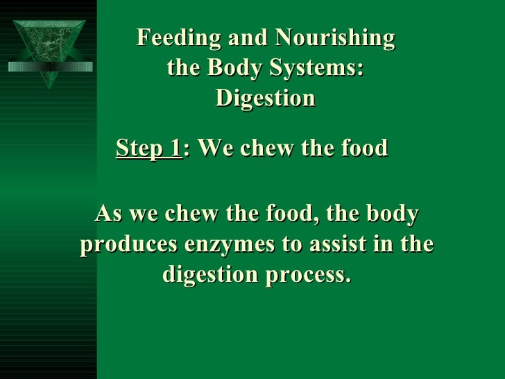 Feeding and Nourishing the Body Systems:  Digestion Step 1 : We chew the food As we chew the food, the body produces enzym...