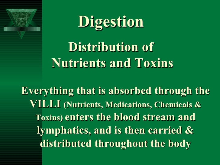 Everything that is absorbed through the VILLI  (Nutrients, Medications, Chemicals & Toxins)   enters the blood stream and ...