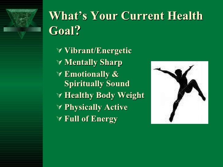 What's Your Current Health Goal ? <ul><li>Vibrant/Energetic </li></ul><ul><li>Mentally Sharp </li></ul><ul><li>Emotionally...