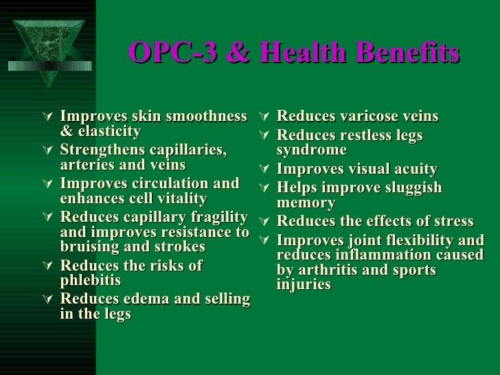 OPC-3 & Health Benefits   <ul><li>Improves skin smoothness & elasticity </li></ul><ul><li>Strengthens capillaries, arterie...