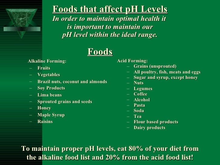 Foods that affect pH Levels In order to maintain optimal health it   is important to maintain our  pH level within the ide...