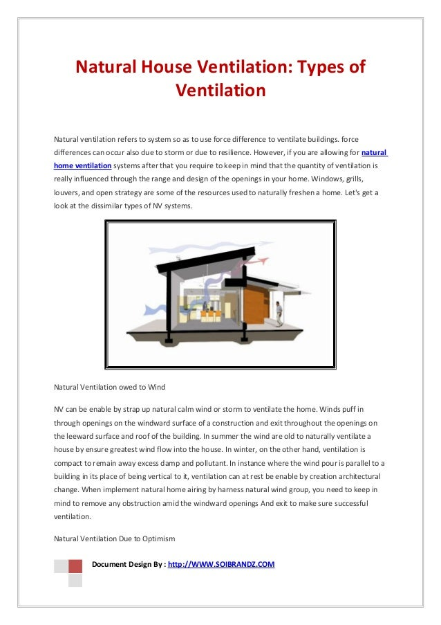 Natural house ventilation types of ventilation