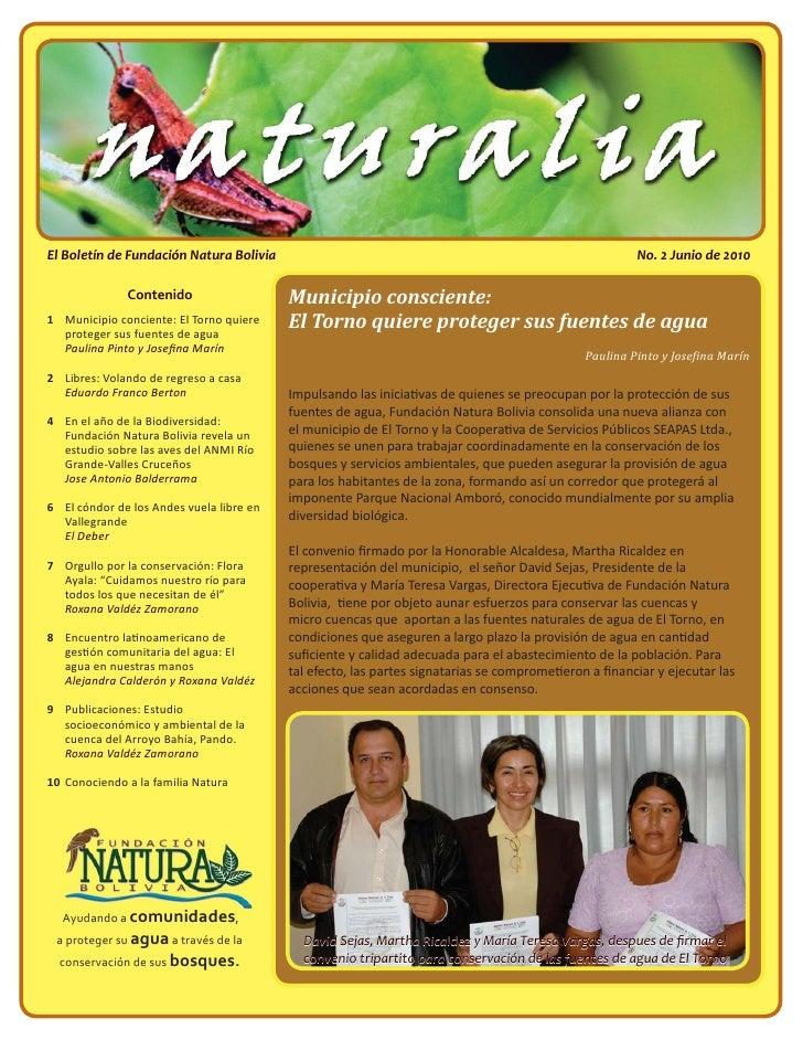 El Boletín de Fundación Natura Bolivia                                                                No. 2 Junio de 2010 ...