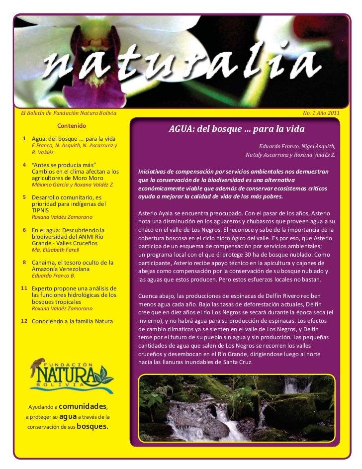 El Boletín de Fundación Natura Bolivia                                                                      No. 1 Año 2011...