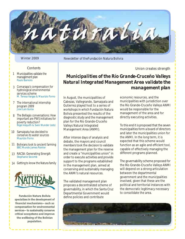 Winter 2009                      Newsletter of theFundación Natura Bolivia               Contents                         ...