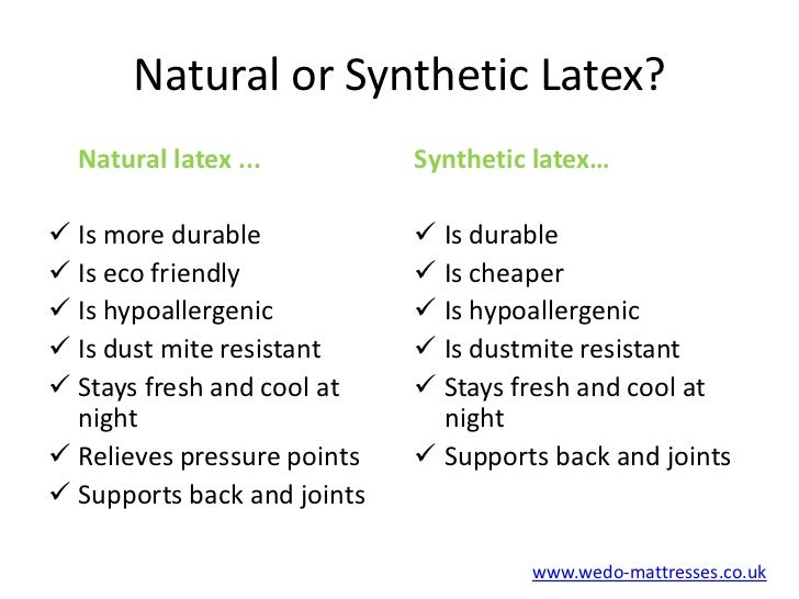 Natural Latex Or Synthetic Latex Mattress
