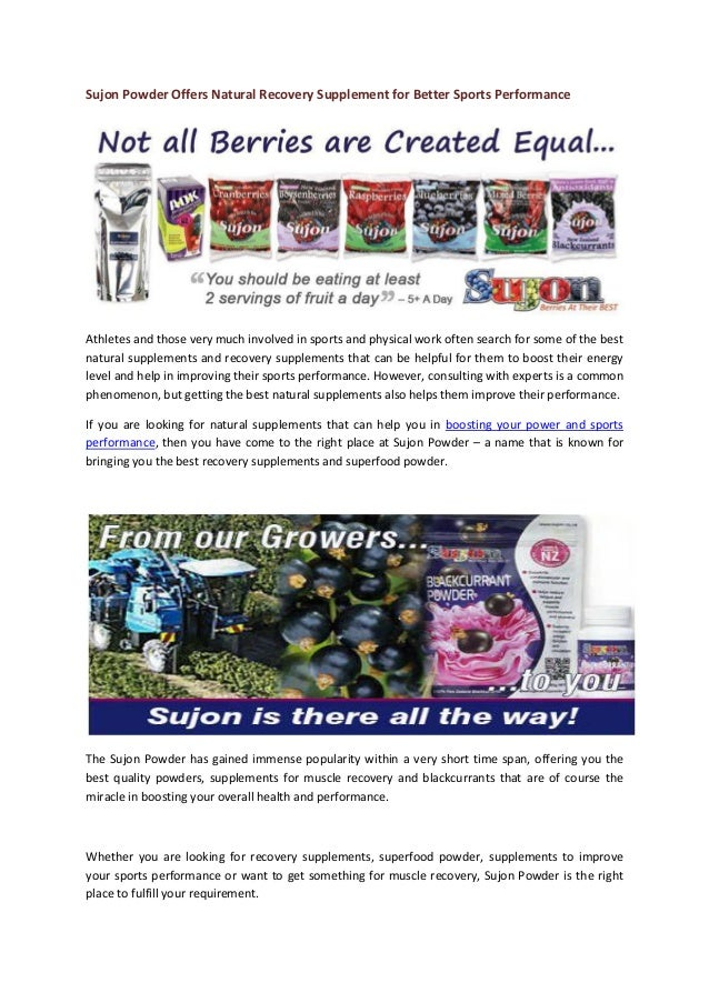 Sujon Powder Offers Natural Recovery Supplement for Better Sports Performance Athletes and those very much involved in spo...