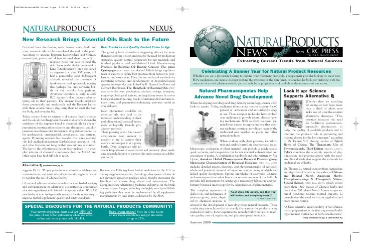 Extracting Current Trends from Natural Sources            Celebrating A Banner Year for Natural Product Resources   Whethe...