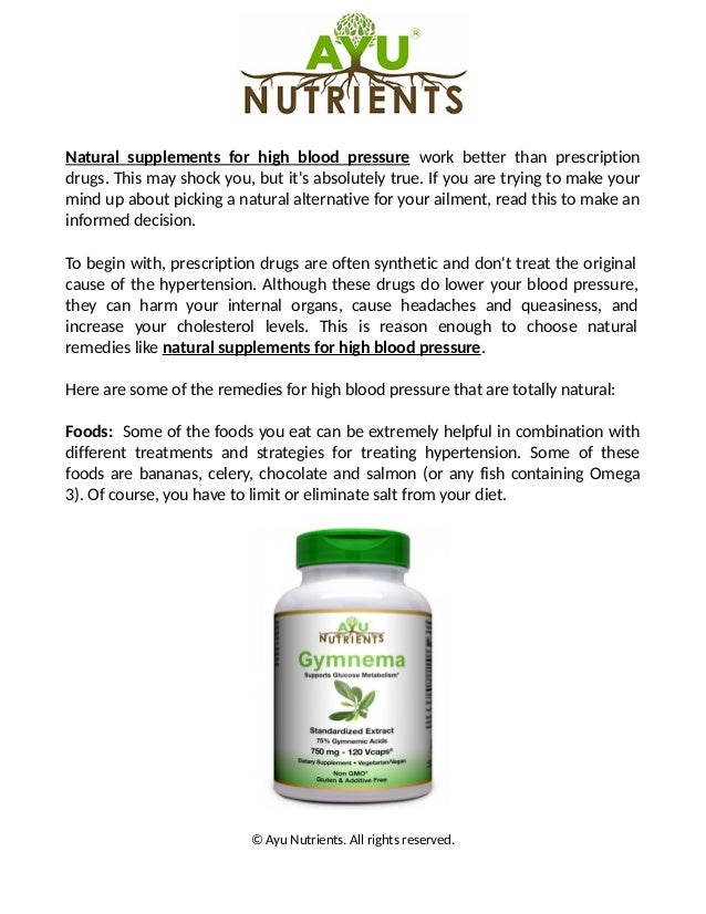 Natural supplements for hypertension