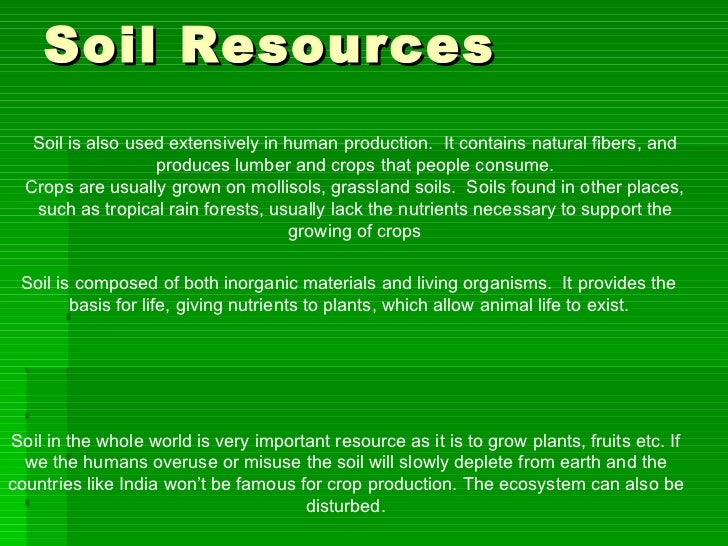 Natural resources for Soil and its uses