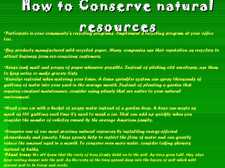 Ways To Conserve Natural Resources In The Office