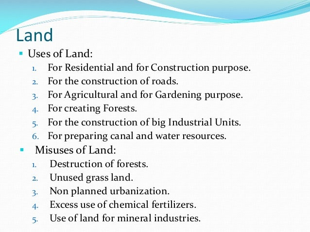why is land a resource