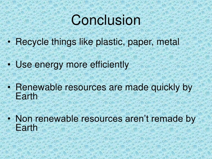 Natural Resources Use More Efficiently