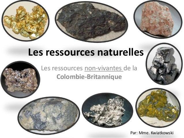 Les ressources naturelles Les ressources non-vivantes de la Colombie-Britannique  Par: Mme. Kwiatkowski