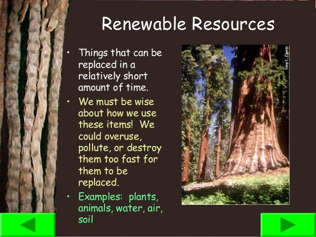 Natural resources ppt for List of natural items
