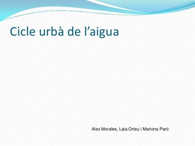 Cicle urbà de l'aiguaAlex Morales, Laia Orteu i Mariona Peró