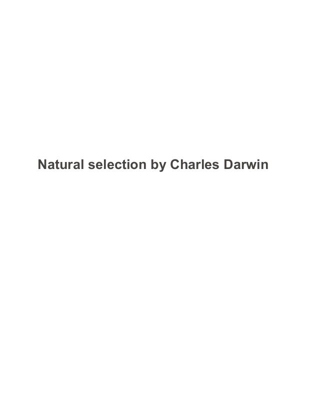 natural selection by charles darwin sample paper essay