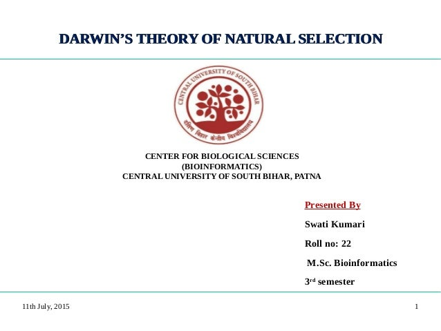 DARWIN'S THEORY OF NATURAL SELECTIONDARWIN'S THEORY OF NATURAL SELECTION Presented By Swati Kumari Roll no: 22 M.Sc. Bioin...