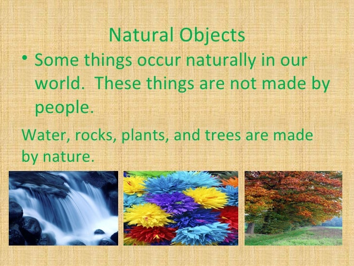 Natural Objects• Some things occur naturally in our  world. These things are not made by  people.Water, rocks, plants, and...