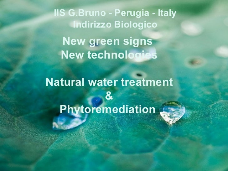 IIS G.Bruno - Perugia - Italy      Indirizzo Biologico  New green signs  New technologiesNatural water treatment          ...