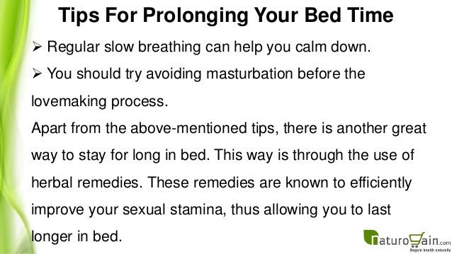 best way to stay longer in bed