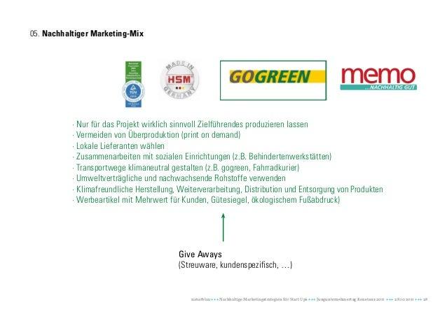 05. Nachhaltiger Marketing-Mix           · Nur für das Projekt wirklich sinnvoll Zielführendes produzieren lassen         ...