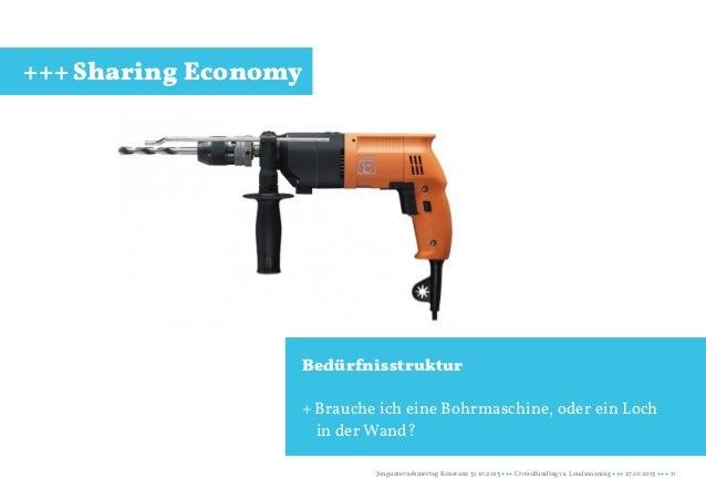+++ Sharing Economy  Bedürfnisstruktur + Brauche ich eine Bohrmaschine, oder ein Loch in der Wand? Jungunternehmertag Kons...