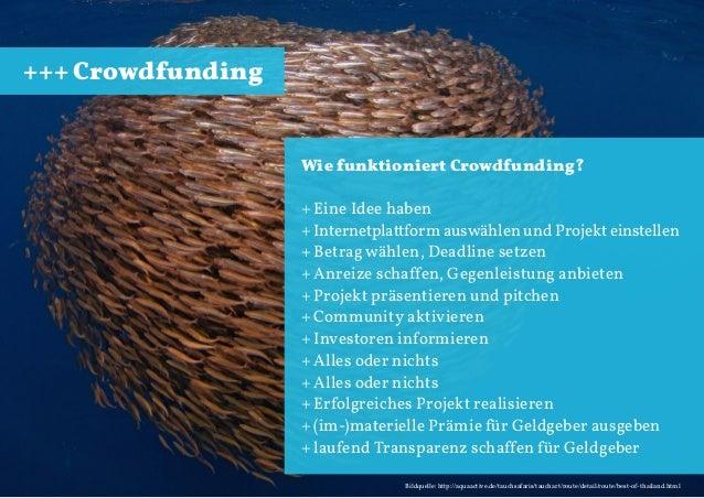 +++ Crowdfunding  Wie funktioniert Crowdfunding? + Eine Idee haben + Internetplattform auswählen und Projekt einstellen + ...