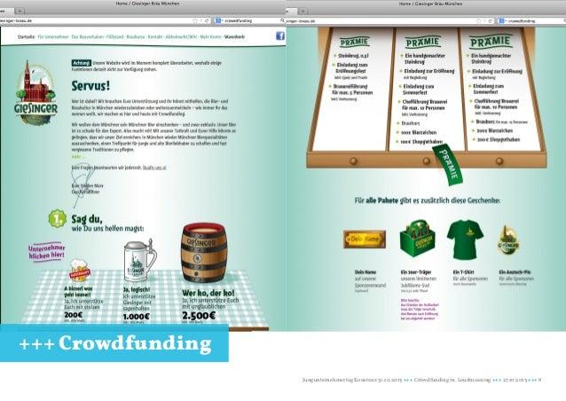 +++ Crowdfunding Jungunternehmertag Konstanz 31.10.2013 +++ Crowdfunding vs. Loudmoaning +++ 27.10.2013 +++ 8
