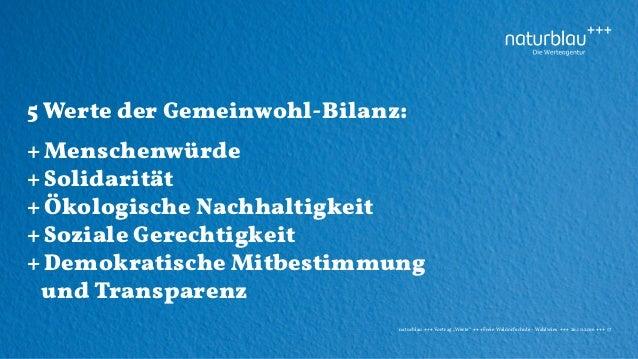 """naturblau +++ Vortrag """"Werte"""" +++Freie Waldorfschule - Wahlwies +++ 26.10.2016 +++ 17 5 Werte der Gemeinwohl-Bilanz: + Men..."""