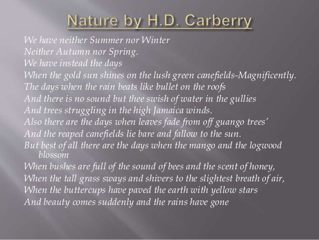 Nature by H D Carberry (Form 5 Poem)