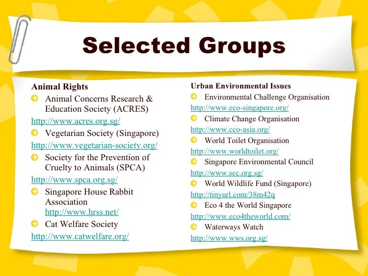 Selected Groups <ul><li>Animal Rights </li></ul><ul><li>Animal Concerns Research & Education Society (ACRES) </li></ul><ul...