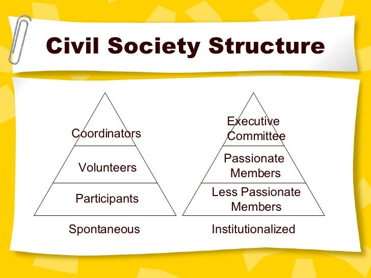 Civil Society Structure Coordinators Volunteers Participants Spontaneous Executive  Committee Passionate  Members Less Pas...
