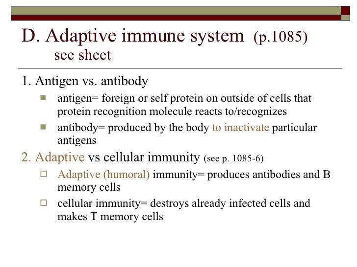 D. Adaptive immune system  (p.1085)  see sheet <ul><li>1. Antigen vs. antibody </li></ul><ul><ul><li>antigen= foreign or s...