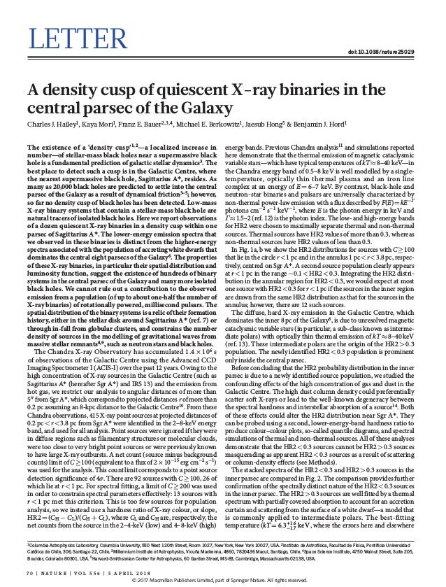 7 0 | N A T U R E | V O L 5 5 6 | 5 a p r i l 2 0 1 8 Letter doi:10.1038/nature25029 A density cusp of quiescent X-ray bin...