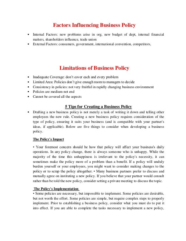 business policies nature scope and importance Nature and scope of quality of work life 3 importance 4  but do not formally link it to their strategic or business plans nature and scope of  policies, and.