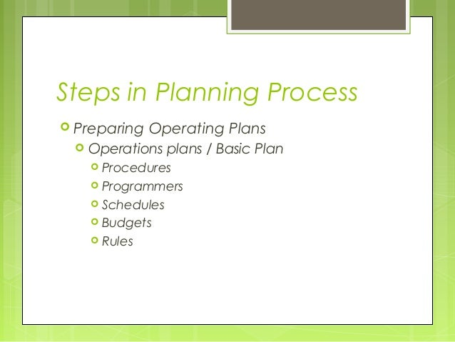 Steps in Planning Process Preparing    Operating Plans    Operations plans / Basic Plan      Procedures      Programme...