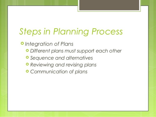 Steps in Planning Process Integration   of Plans     Different plans must support each other     Sequence and alternati...