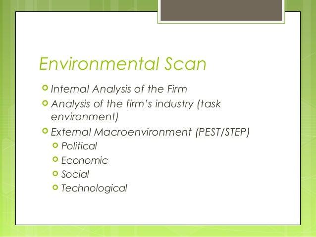 Environmental Scan Internal Analysis of the Firm Analysis of the firm's industry (task  environment) External Macroenvi...