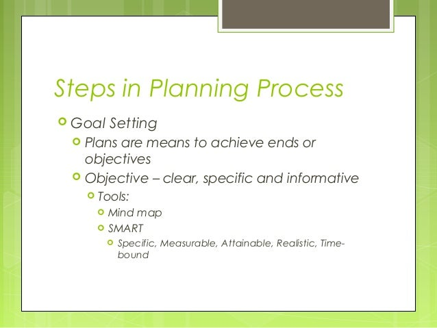 Steps in Planning Process Goal    Setting    Plans are means to achieve ends or     objectives    Objective – clear, sp...