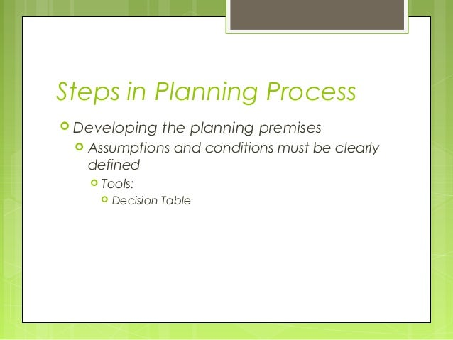 Steps in Planning Process Developing      the planning premises    Assumptions and conditions must be clearly     define...