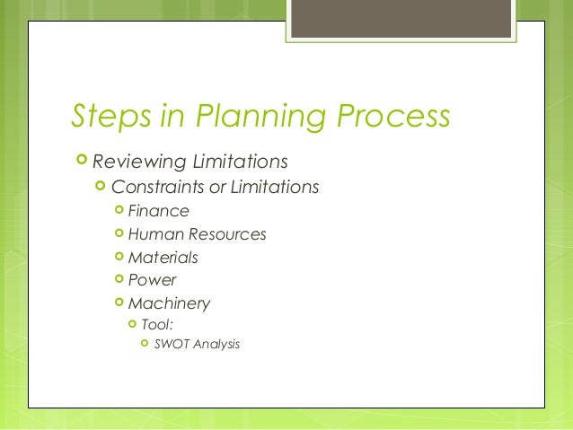 Steps in Planning Process Reviewing         Limitations    Constraints or Limitations      Finance      Human  Resourc...