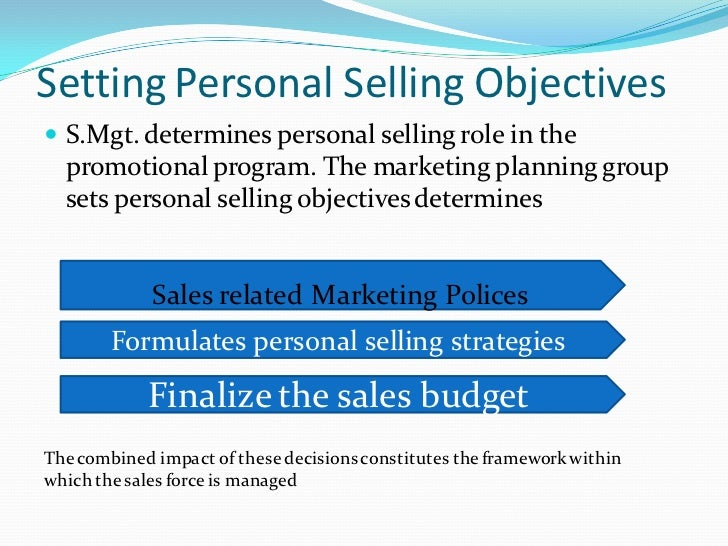 setting and formulating personal selling objectives