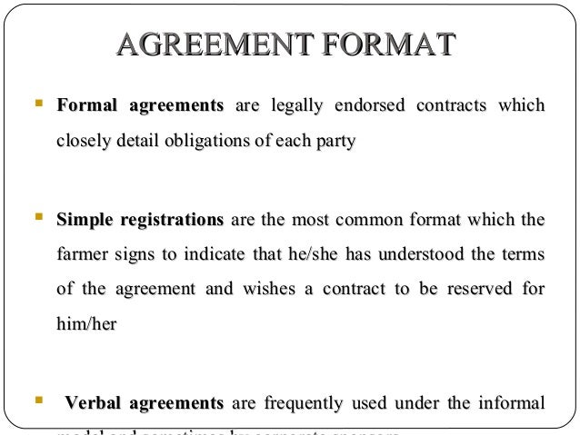 AGREEMENT FORMAT Formal Agreements Are Legally Endorsed Contracts ...